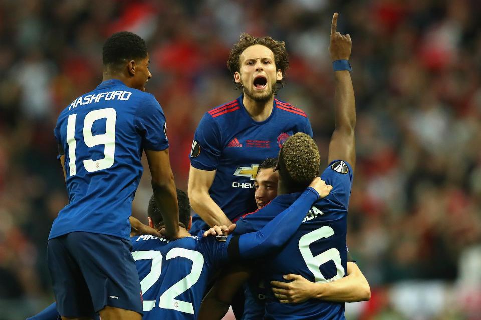 Ekspresi kegembiraan para pemain United